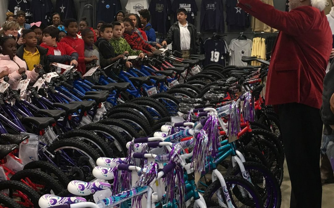 Caddo elementary students get early Christmas bikes